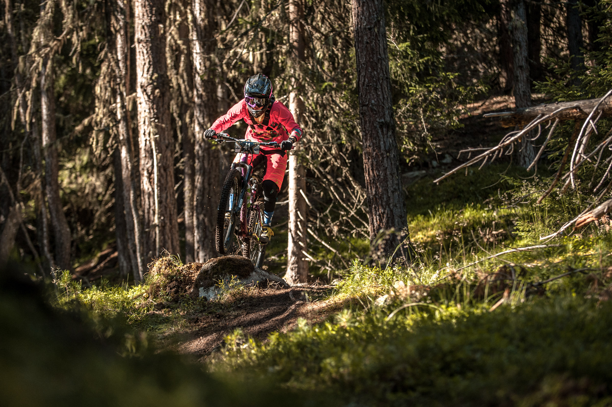 Sandra BÖRNER of Germany races down the stage No. 1 during the 3rd stop of the European Enduro Series at Reschenpass, Austria, on July 26, 2015. Free image for editorial usage only: Photo by Andreas Vigl