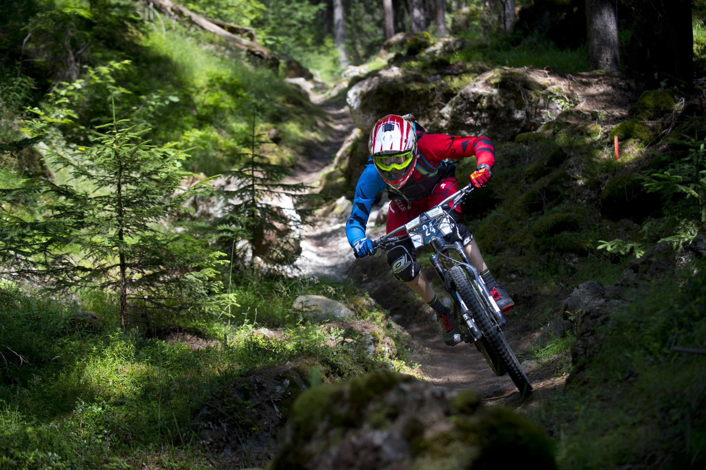 KEVIN MADEREGGER from AUT in stage 5 of the 2nd EES in Sölden Tyrol, Austria, on July 5, 2015. Free image for editorial usage only: Photo by Manfred Stromberg
