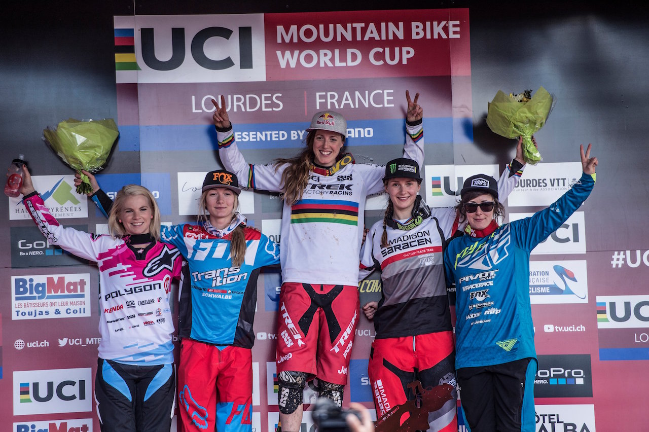 Tracey Hannah, Tahnee Seagrave, Rachel Atherton, Manon Carpenter, Emilie Siegenthaler stand on the podium at the UCI DH World Tour in Lourdes on April 10th, 2016 // Bartek Wolinski/Red Bull Content Pool // P-20160410-00284 // Usage for editorial use only // Please go to www.redbullcontentpool.com for further information. //