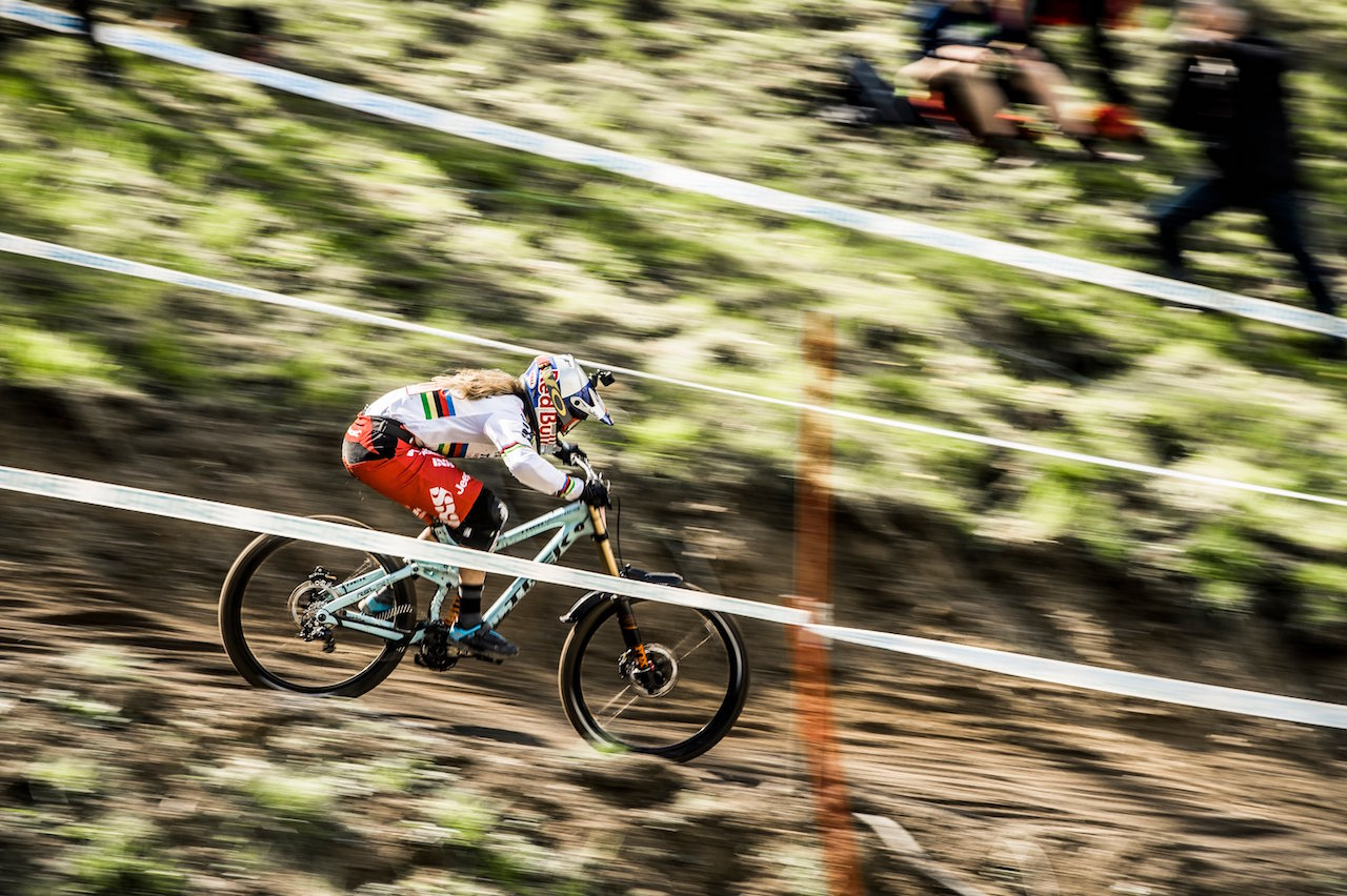 Rachel Atherton performs at the UCI DH World Tour in Lourdes on April 10th, 2016 // Bartek Wolinski/Red Bull Content Pool // P-20160410-00266 // Usage for editorial use only // Please go to www.redbullcontentpool.com for further information. //