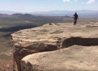 biker falls off cliff