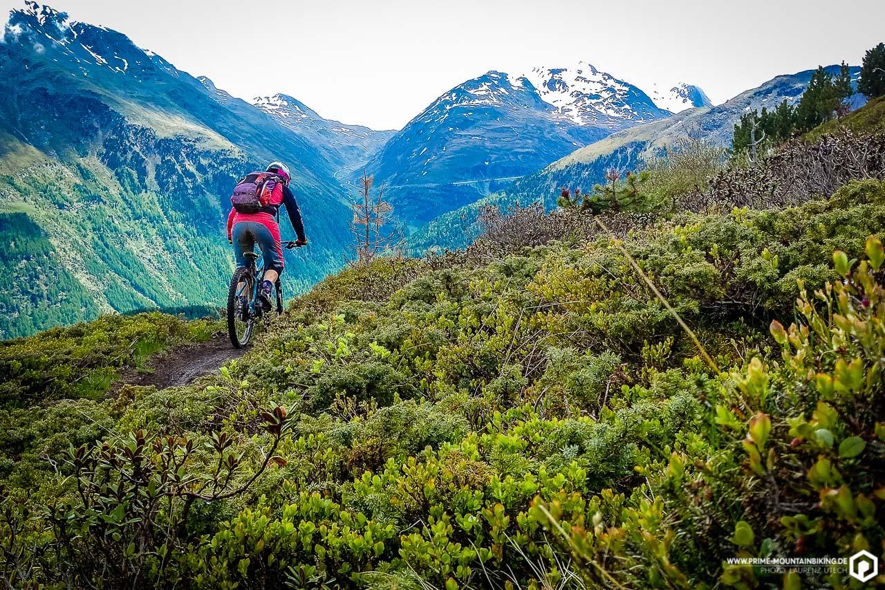 Die Trails in Sölden halten nicht nur tolle Aussichten bereit ...