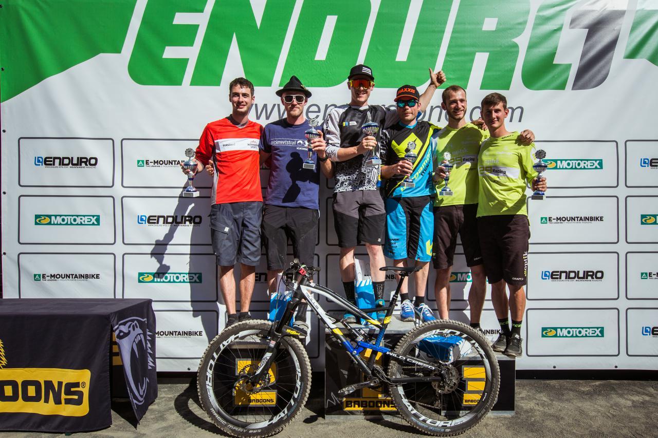 Das Podium der Pros beim dritten Lauf der Enduro One Serie am Dünsberg.