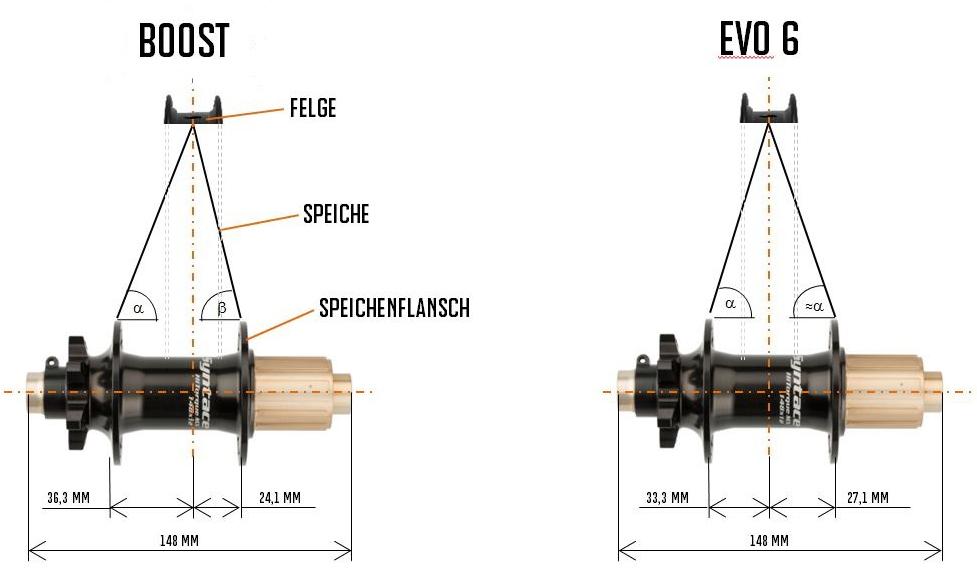 Die Speichenwinkel und Längenmaße von Boost und Evo6-Standard.