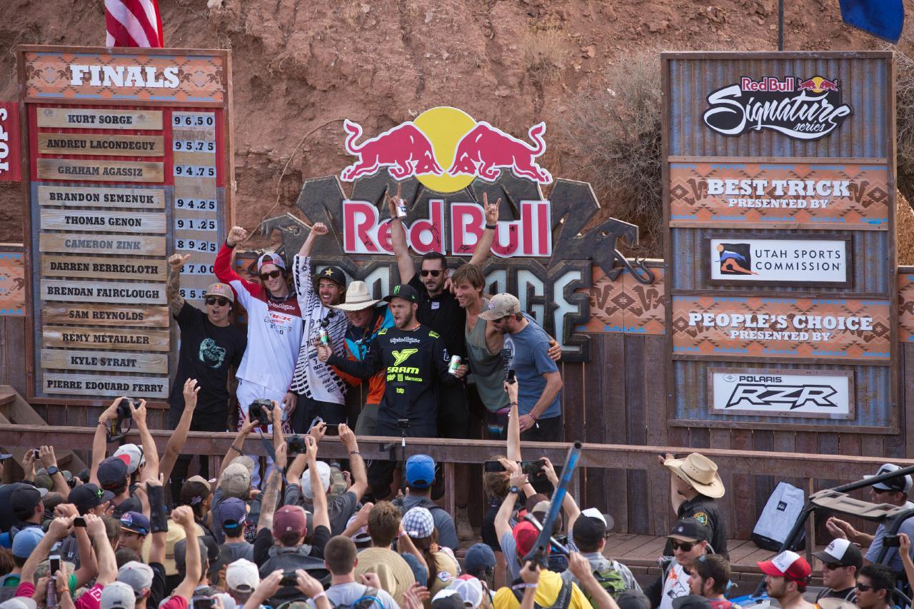Die letzten zehn Gewinner der Rampage, von links: Andreu Lacondeguy, Brandon Semenuk, Kurt Sorge, Kyle Strait, Cam Zink, Cedric Gracia, Tyler Klassen und Wade Simmons.