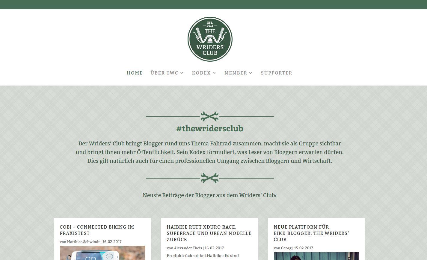 """""""The Wriders' Club"""" ist eine übersichtich gestaltete Website die zum verweilen einlädt - schau mal rein!"""