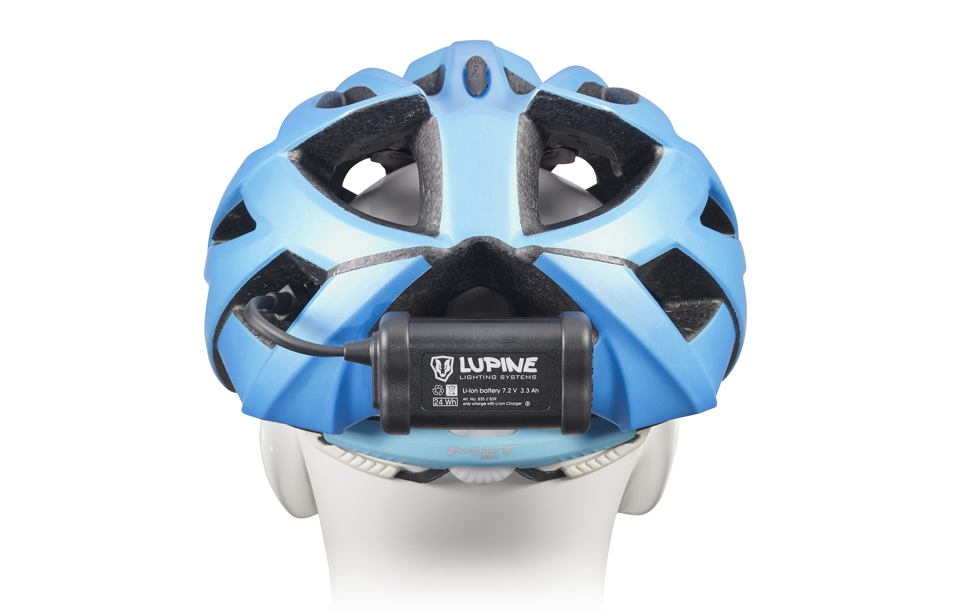 Praktisch: Trägt man den Akku am helm, so kann dieser gleichzeitig als Rückleuchte genutzt werden.