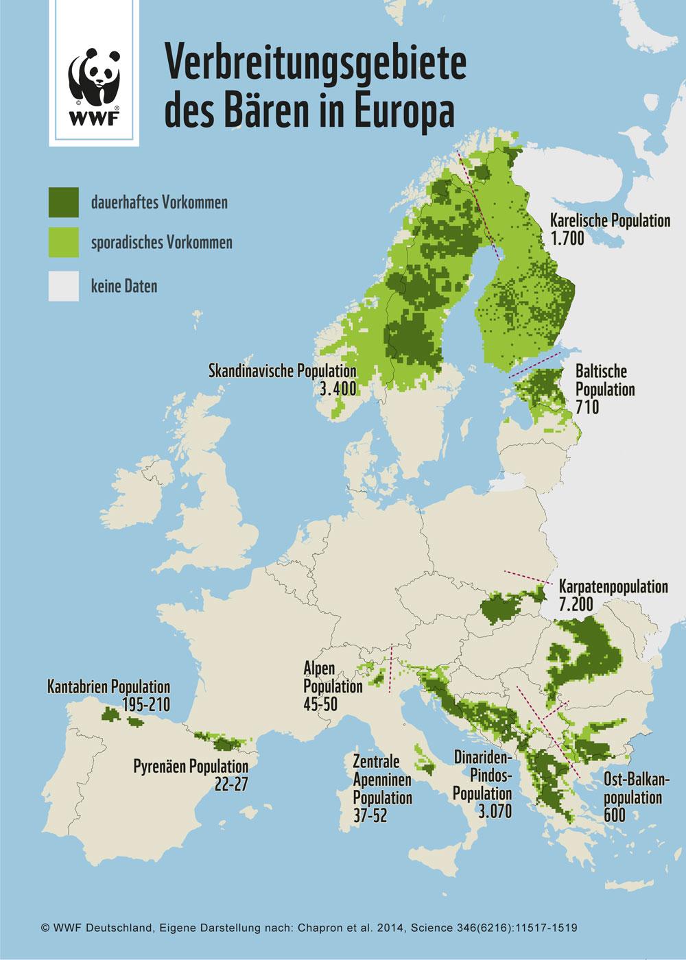 Verbreitung des Bären in Europa © WWF